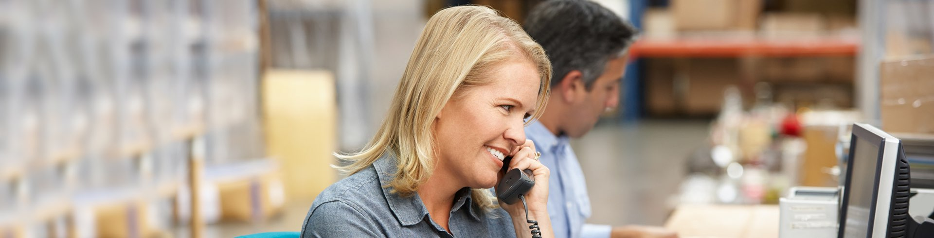 woman on phone in an office